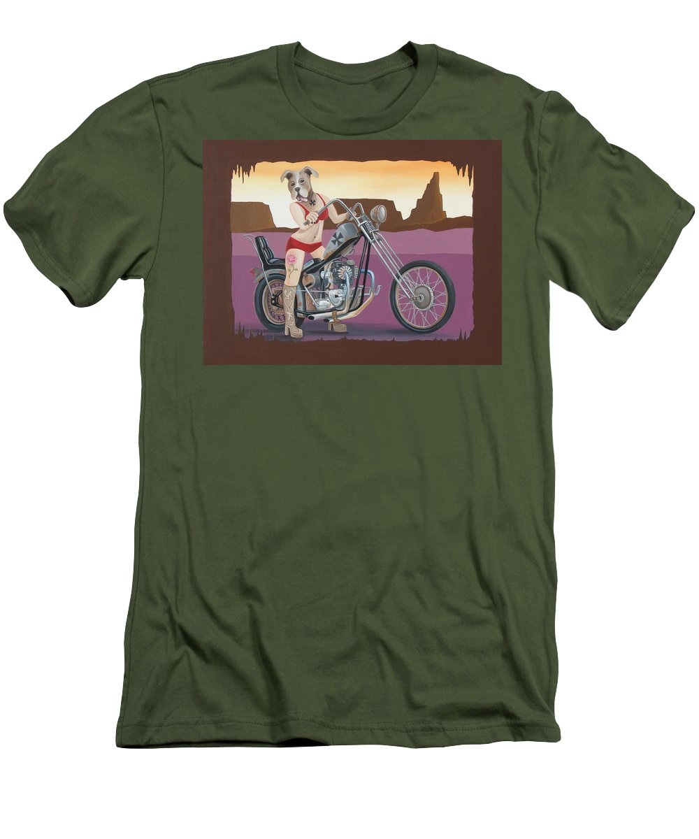 Motorcycle Men's T-Shirt (Athletic Fit) featuring the painting Rosie's Chopper by Stuart Swartz