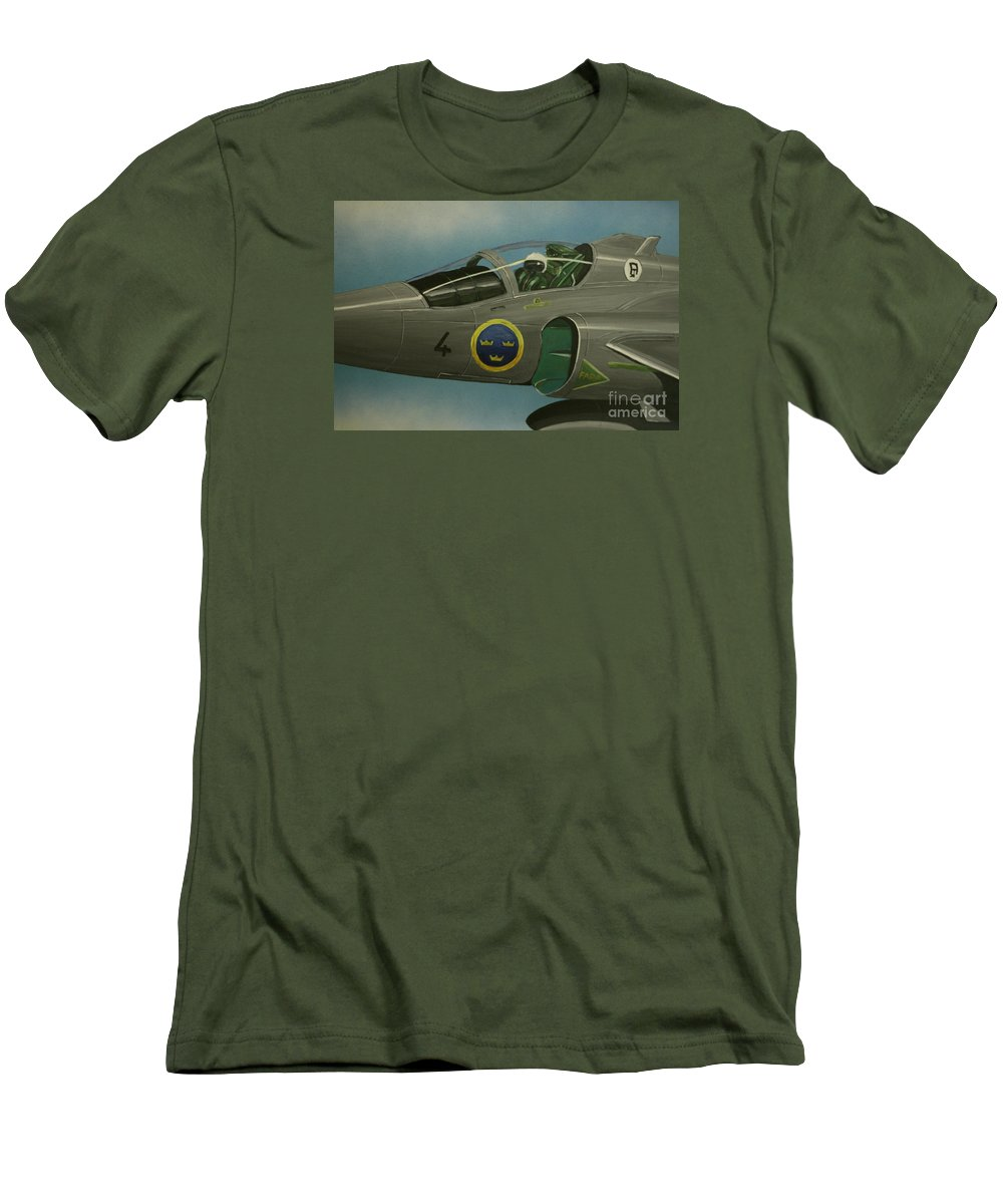 Swedish Air Force Men's T-Shirt (Athletic Fit) featuring the painting Saab Viggen Gruppo 4 Cockpit by Richard John Holden RA