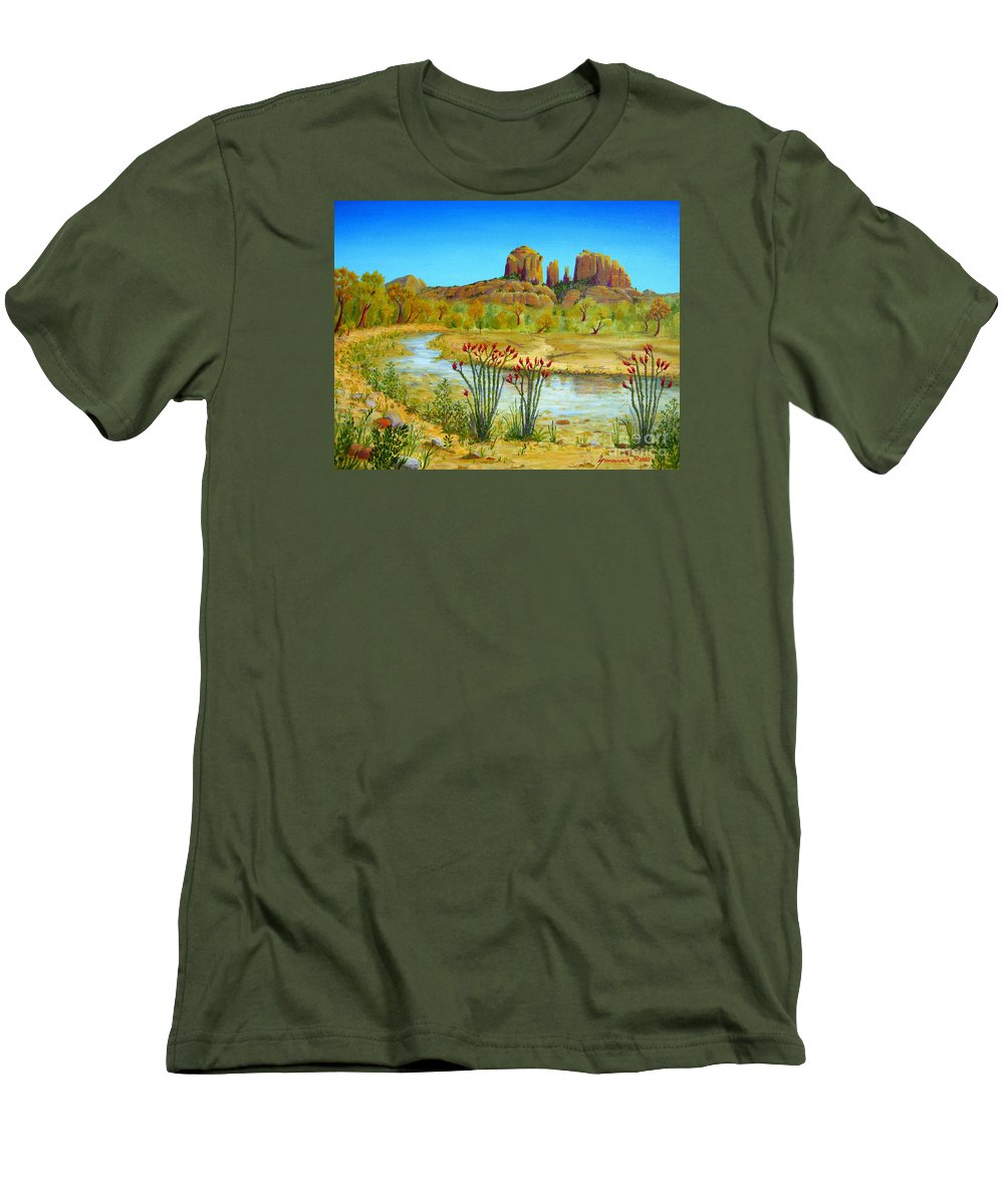 Sedona Men's T-Shirt (Athletic Fit) featuring the painting Sedona Arizona by Jerome Stumphauzer