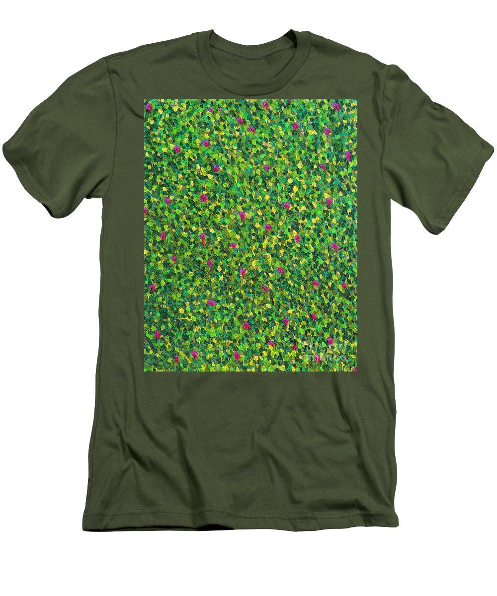 Abstract Men's T-Shirt (Athletic Fit) featuring the painting Soft Green With Pink by Dean Triolo