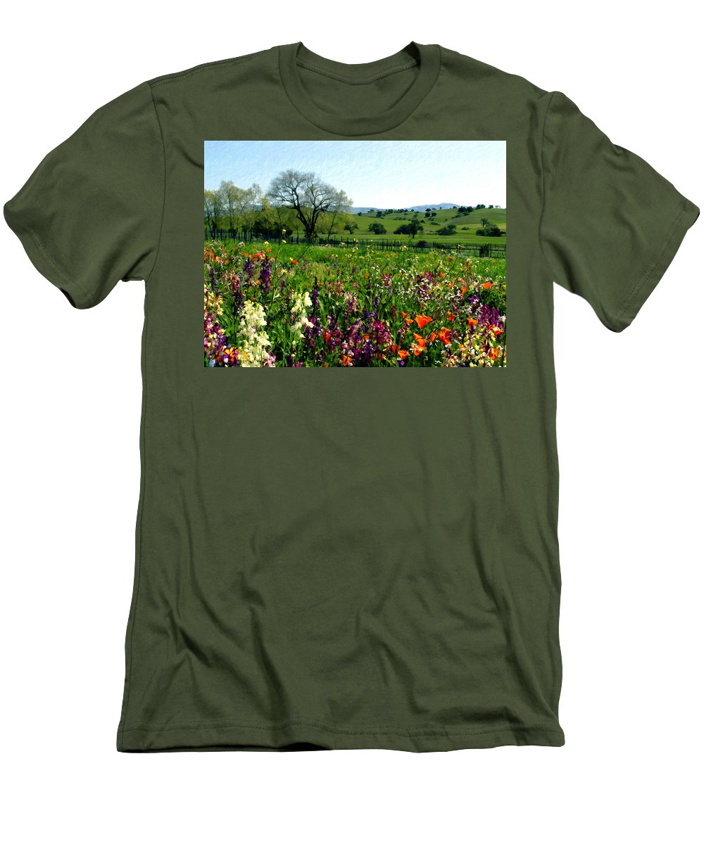 Flowers Men's T-Shirt (Athletic Fit) featuring the photograph Spring Bouquet At Rusack Vineyards by Kurt Van Wagner