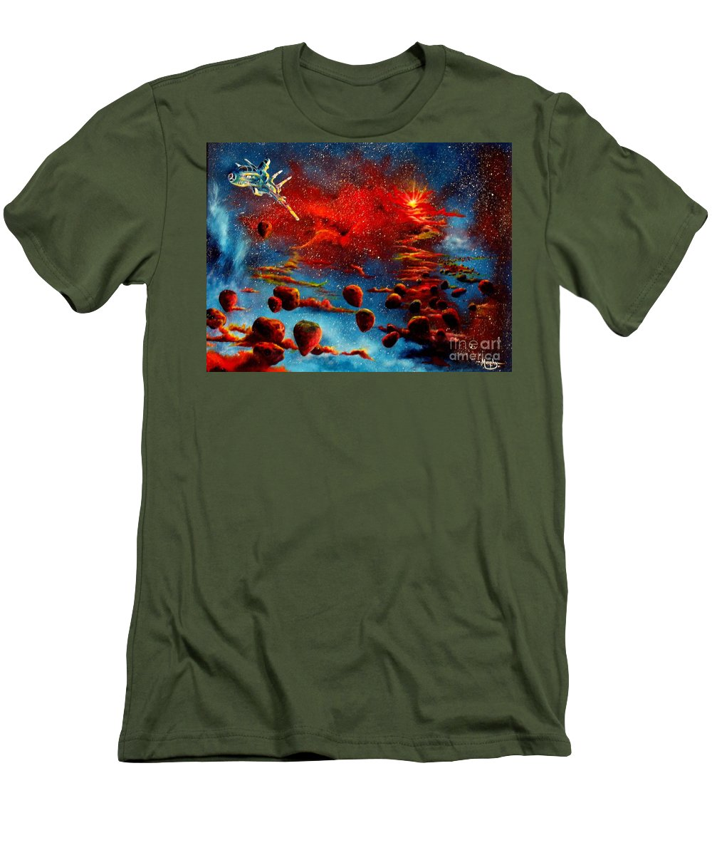 Nova Men's T-Shirt (Athletic Fit) featuring the painting Starberry Nova Alien Excape by Murphy Elliott