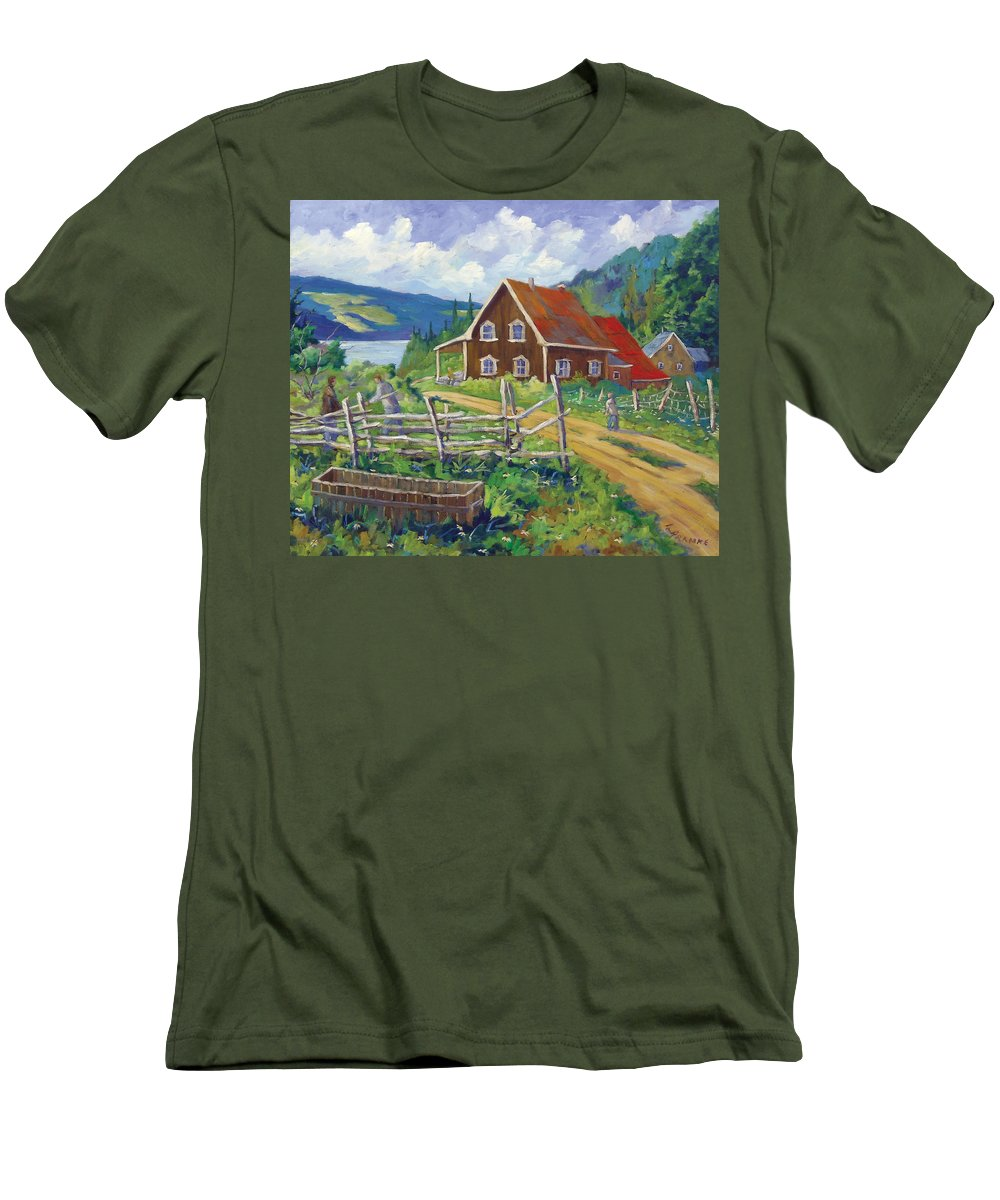 Art Men's T-Shirt (Athletic Fit) featuring the painting Ste-rose Du Nord by Richard T Pranke