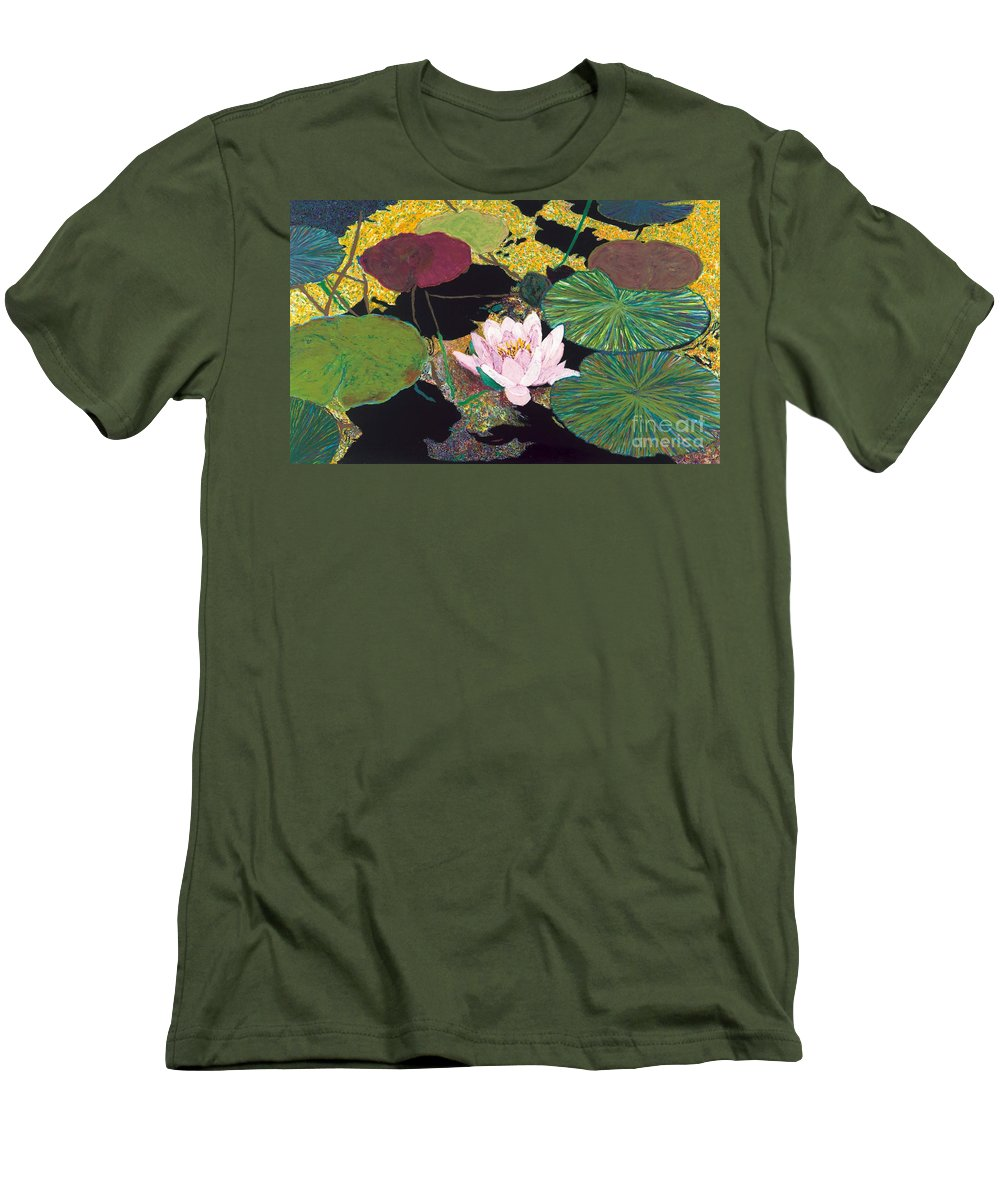 Landscape Men's T-Shirt (Athletic Fit) featuring the painting Steamy Pond by Allan P Friedlander