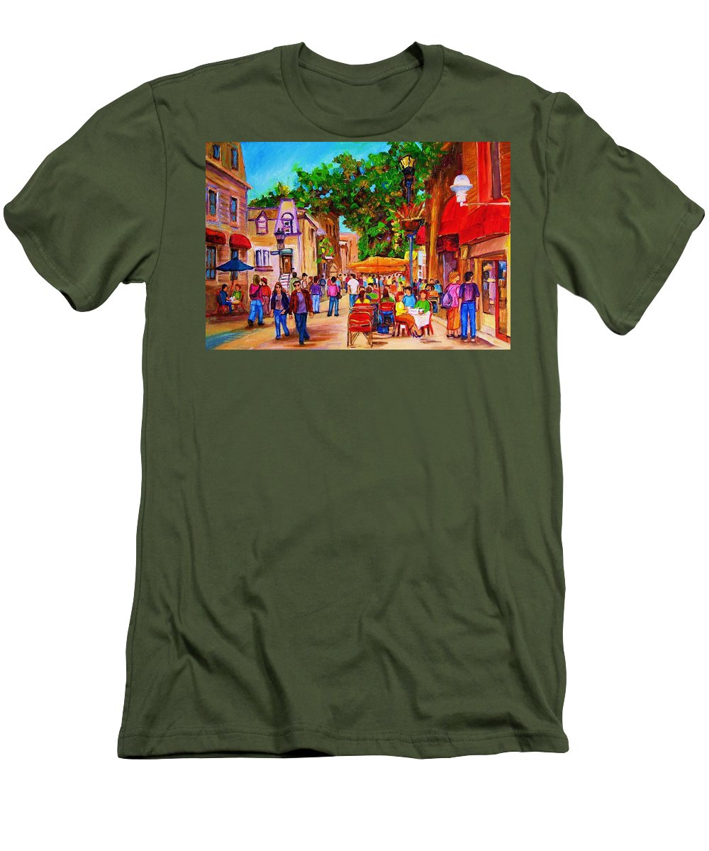 Summer Cafes Montreal Street Scenes Men's T-Shirt (Athletic Fit) featuring the painting Summer Cafes by Carole Spandau