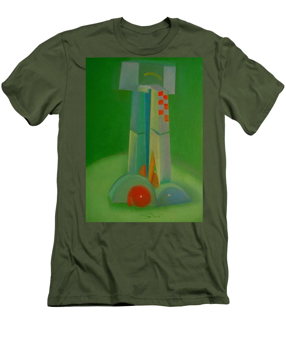 Cubist View Of Figure Men's T-Shirt (Athletic Fit) featuring the painting Survivors by Charles Stuart