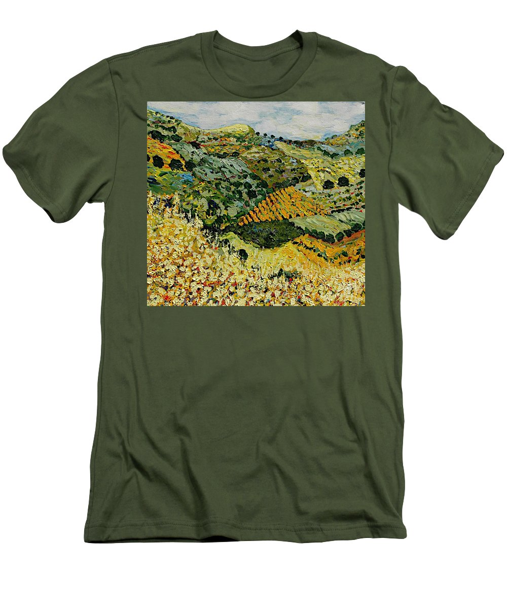 Landscape Men's T-Shirt (Athletic Fit) featuring the painting Tall Grass by Allan P Friedlander