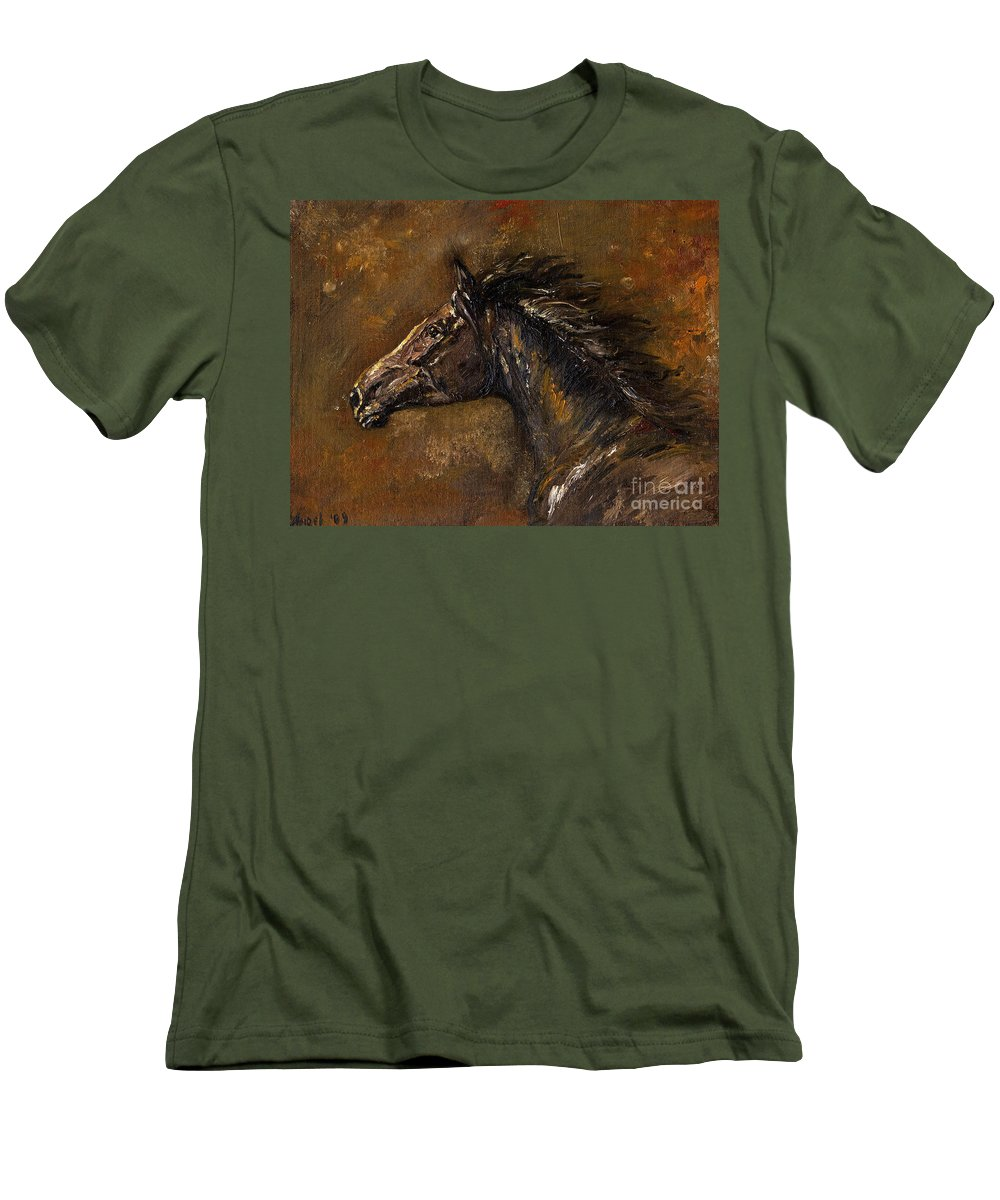 Horse Men's T-Shirt (Athletic Fit) featuring the painting The Black Horse Oil Painting by Angel Ciesniarska