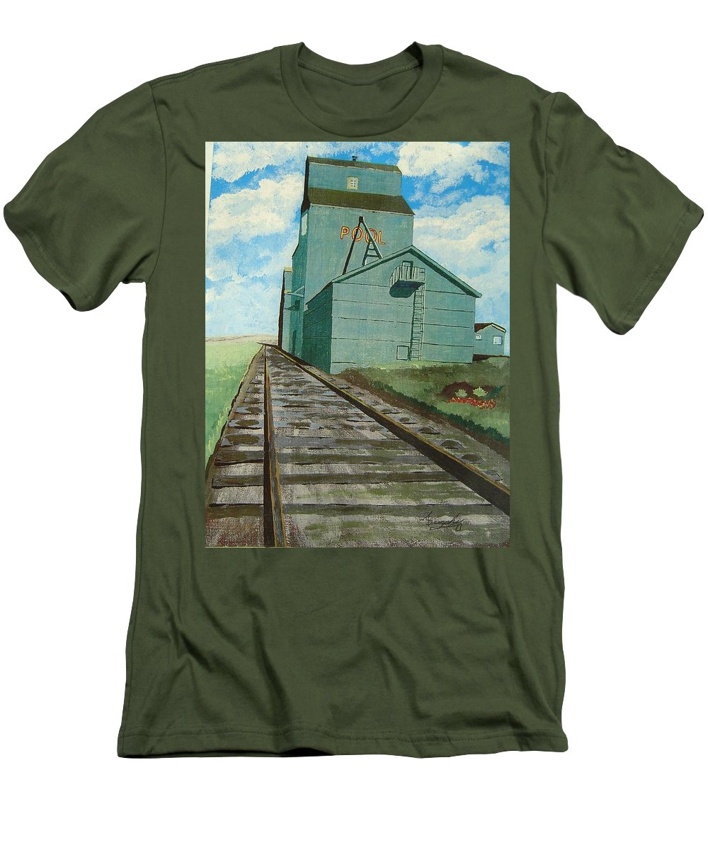 Elevator Men's T-Shirt (Athletic Fit) featuring the painting The Grain Elevator by Anthony Dunphy