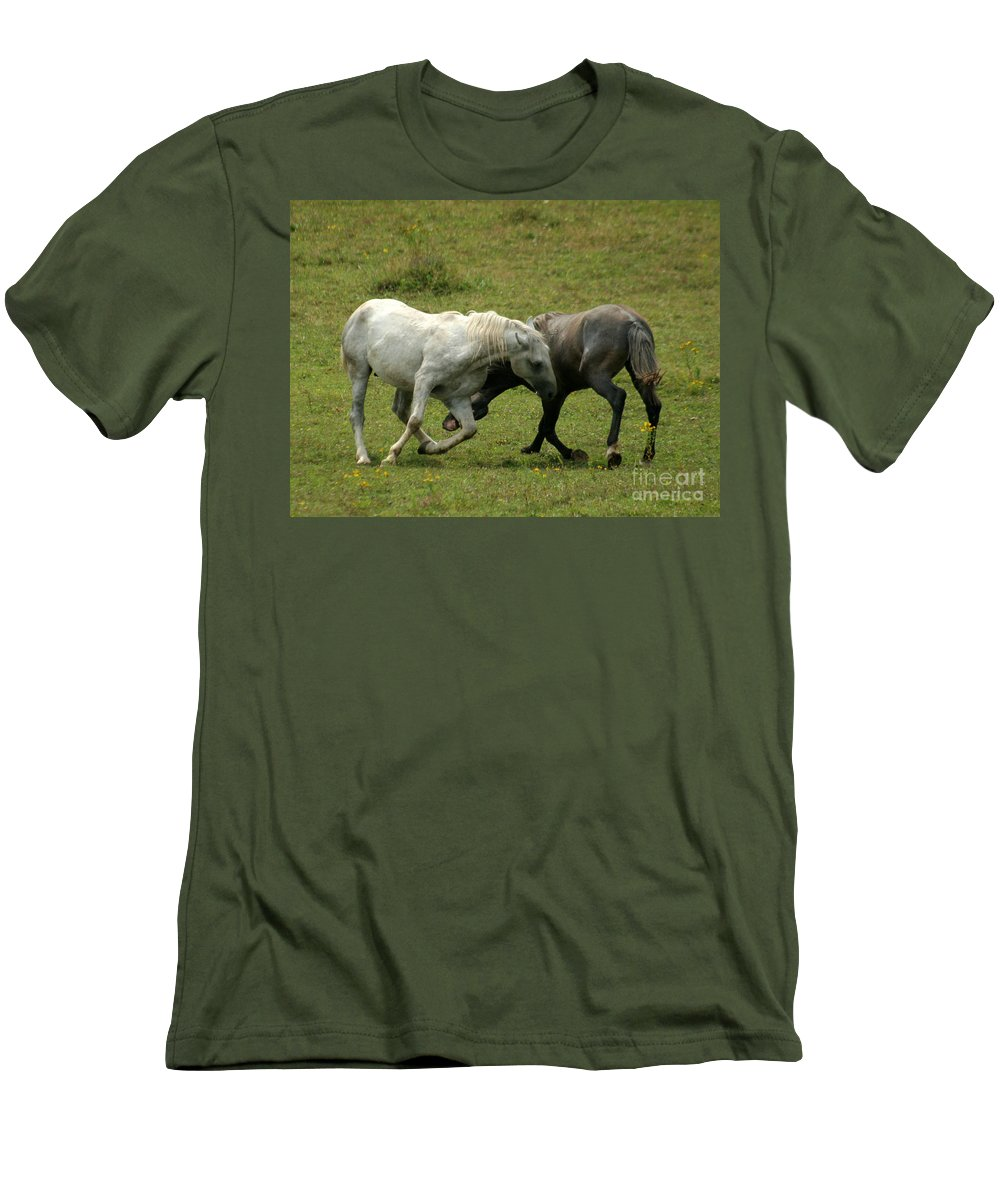 Grey Horse Men's T-Shirt (Athletic Fit) featuring the photograph The Horse Ballet by Angel Tarantella