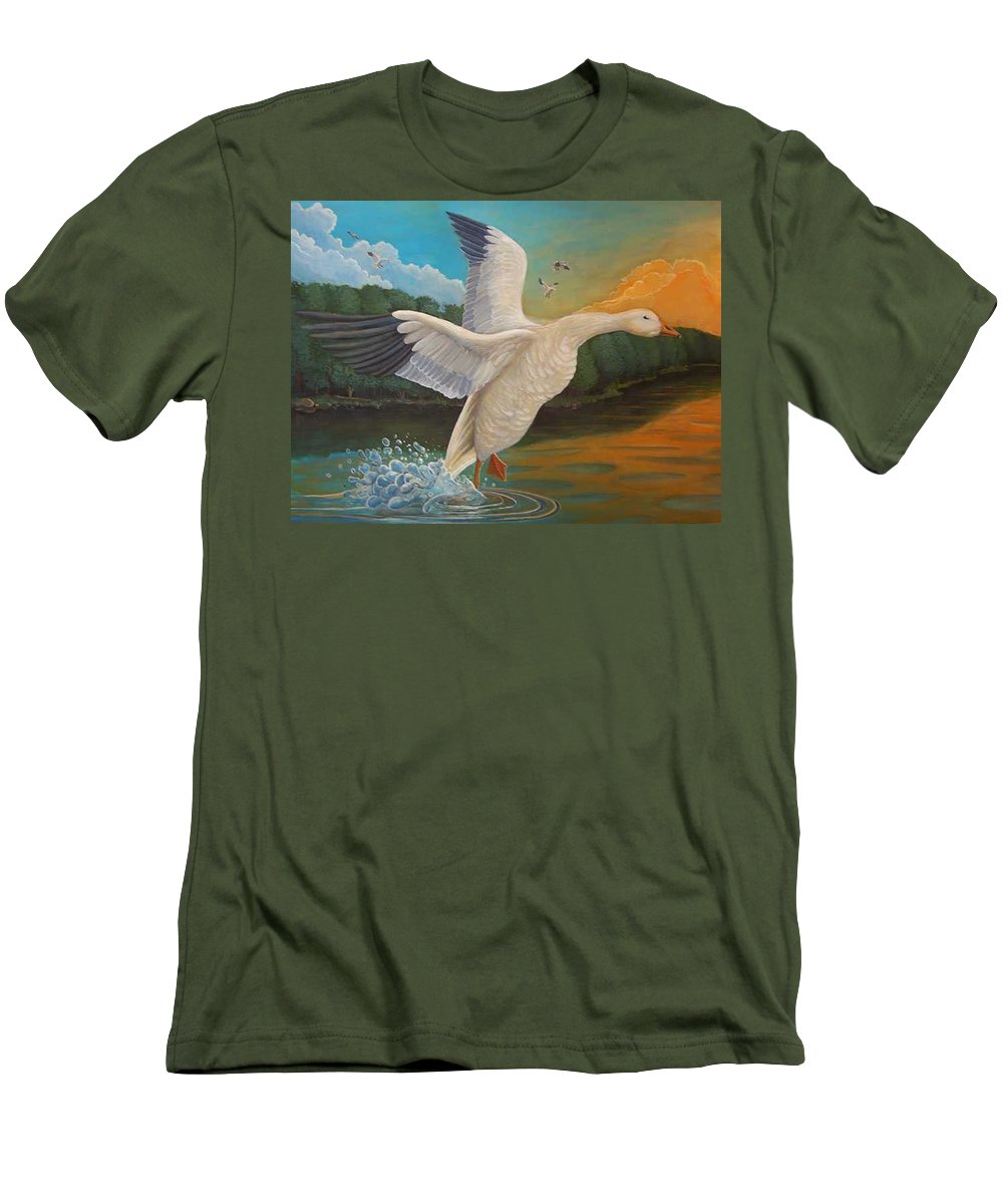 Rick Huotari Men's T-Shirt (Athletic Fit) featuring the painting The Landing by Rick Huotari