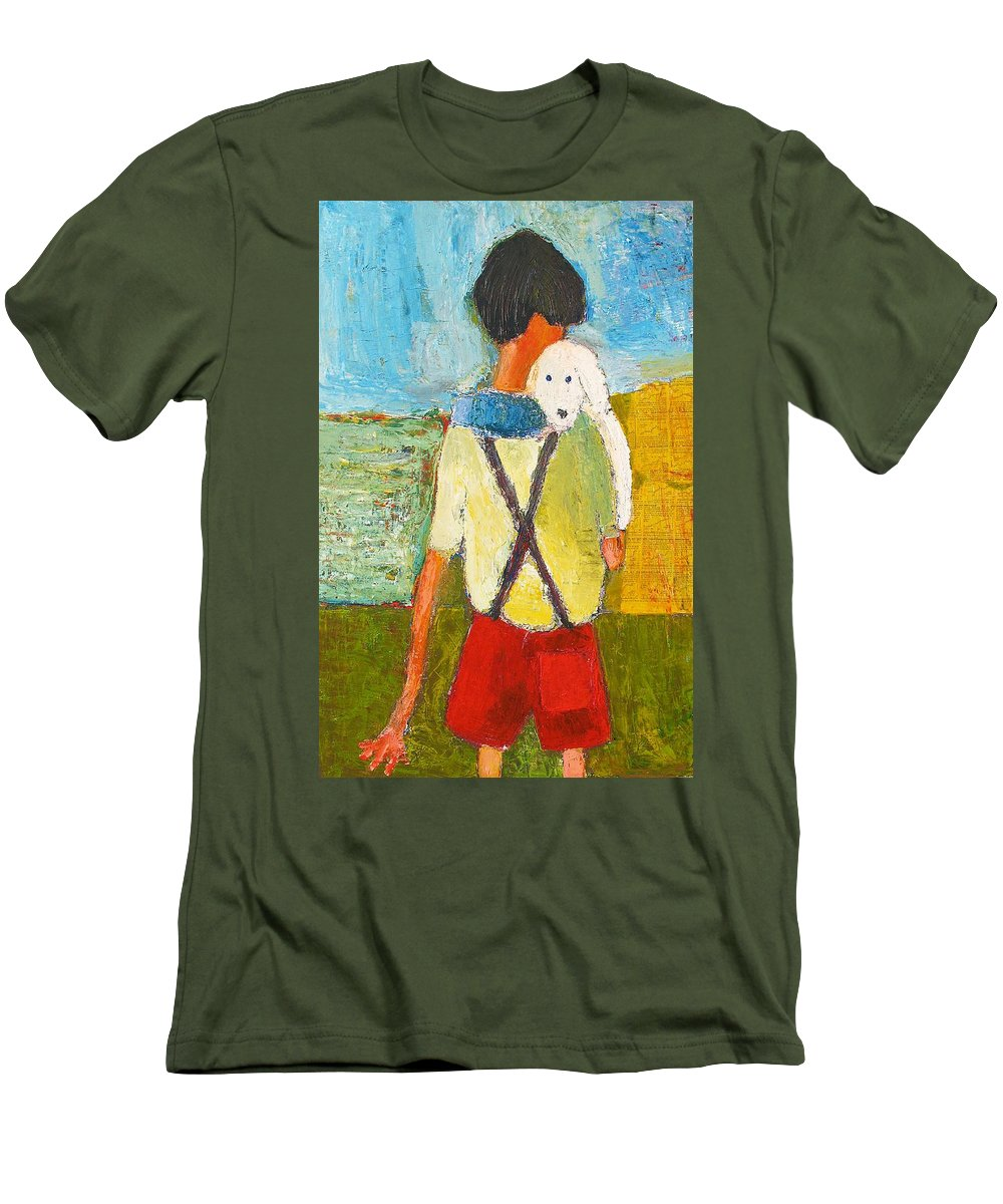 Abstract Men's T-Shirt (Athletic Fit) featuring the painting The Little Puppy by Habib Ayat