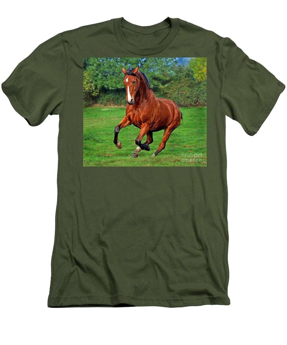 Horse Men's T-Shirt (Athletic Fit) featuring the photograph The Pure Power by Angel Ciesniarska