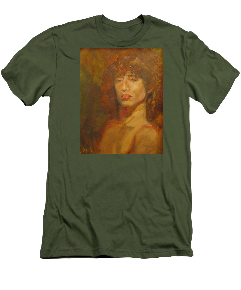 Portrait Men's T-Shirt (Athletic Fit) featuring the painting Tracy by Irena Jablonski