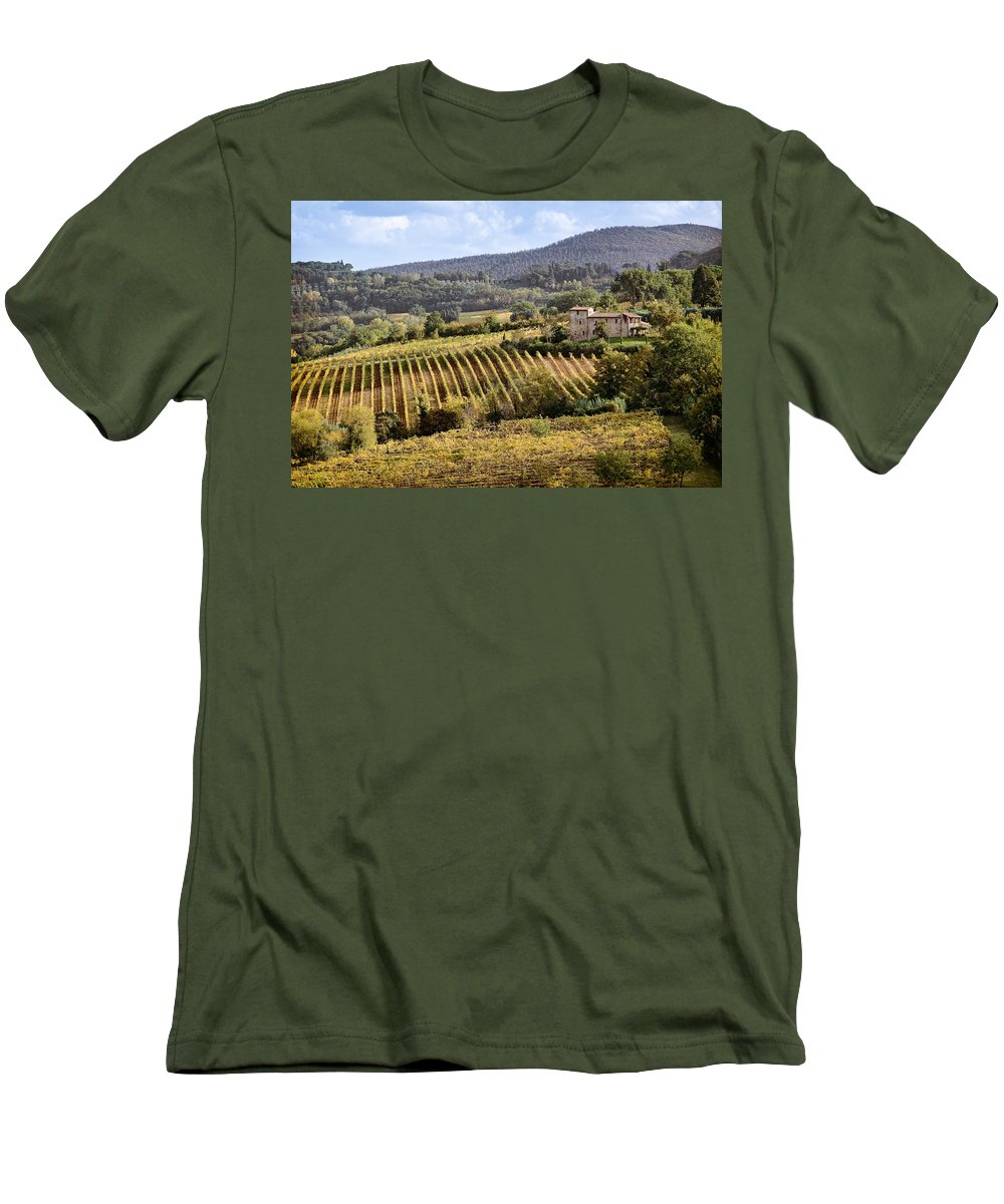 Tuscany Men's T-Shirt (Athletic Fit) featuring the photograph Tuscan Valley by Dave Bowman