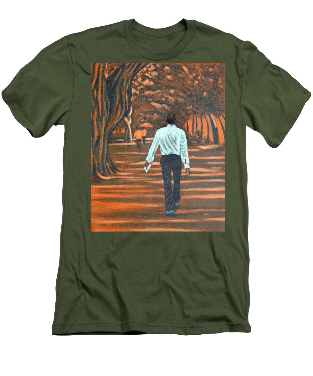 Usha Men's T-Shirt (Athletic Fit) featuring the painting Walk In The Woods by Usha Shantharam