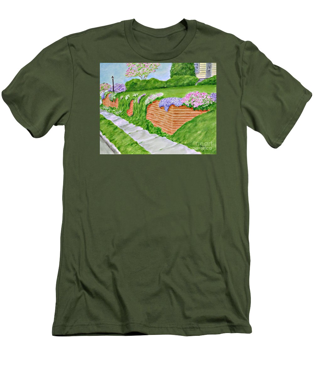 Landscape Men's T-Shirt (Athletic Fit) featuring the painting Wall Of Flowers by Regan J Smith