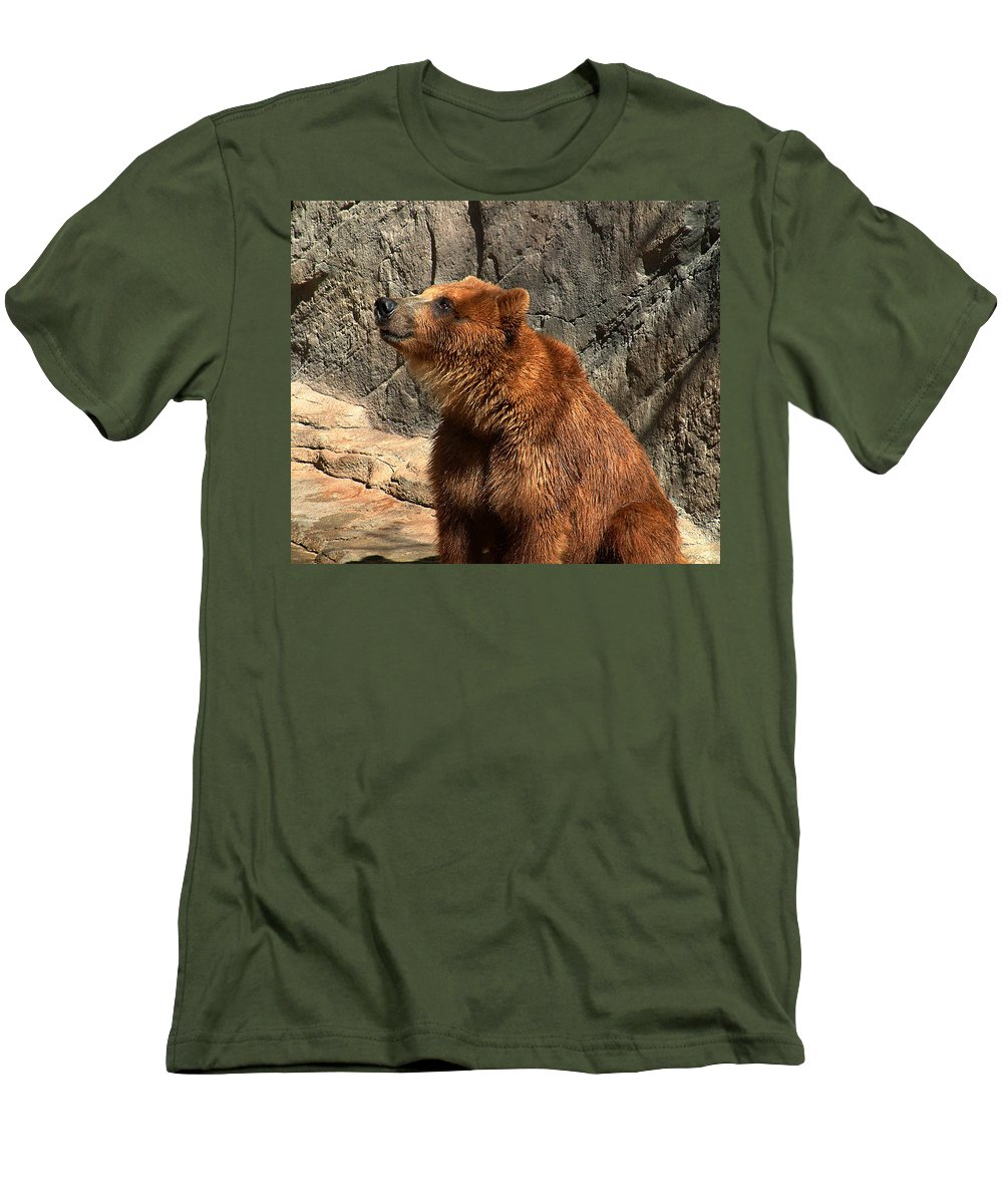 Bear Men's T-Shirt (Athletic Fit) featuring the photograph Watching The Sun Set by RC deWinter