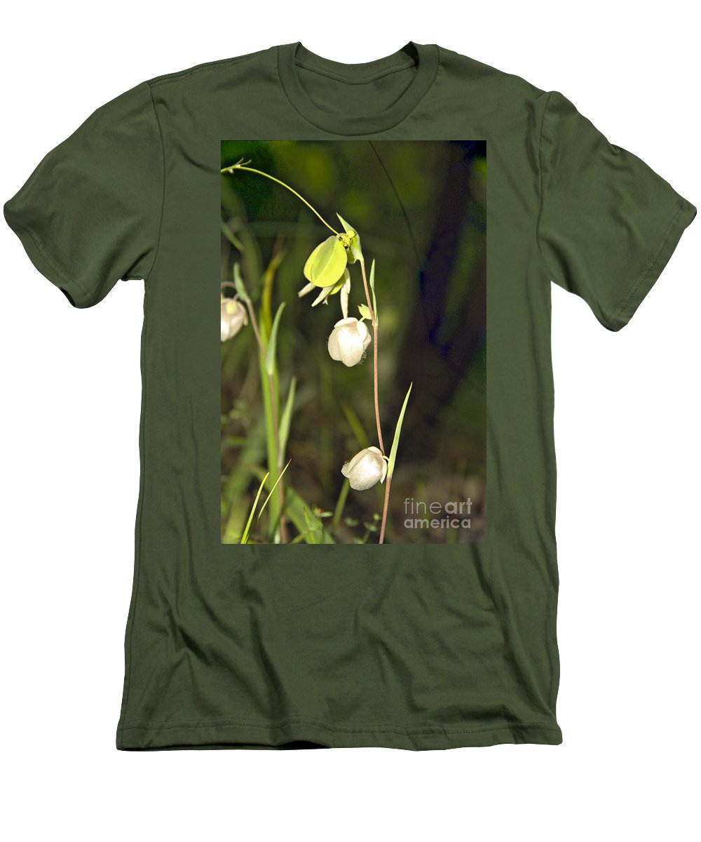 Wildflowers; Globes; Nature; Green; White Men's T-Shirt (Athletic Fit) featuring the photograph Whispers by Kathy McClure