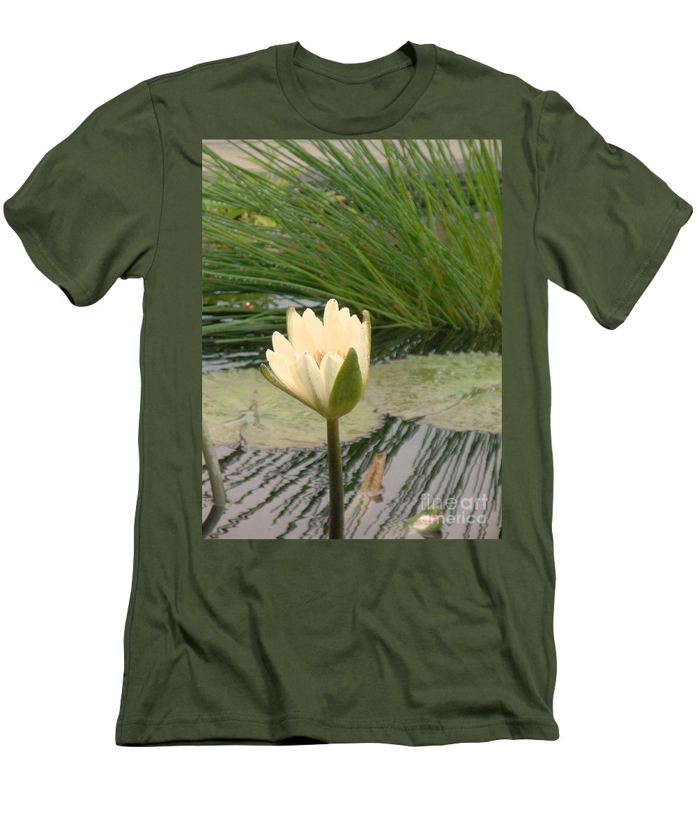Water Lilies Men's T-Shirt (Athletic Fit) featuring the photograph White Lily Near Pond Grass by Eric Schiabor