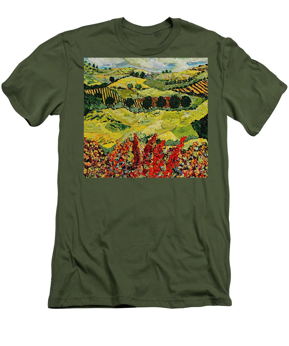 Landscape Men's T-Shirt (Athletic Fit) featuring the painting Wildflower Jungle by Allan P Friedlander