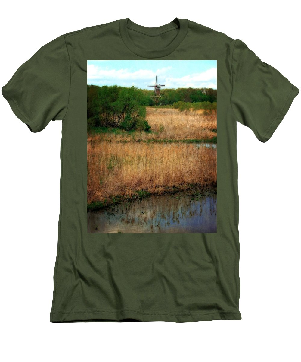 Windmill Island Men's T-Shirt (Athletic Fit) featuring the photograph Window On The Waterfront Dezwaan Windmill by Michelle Calkins