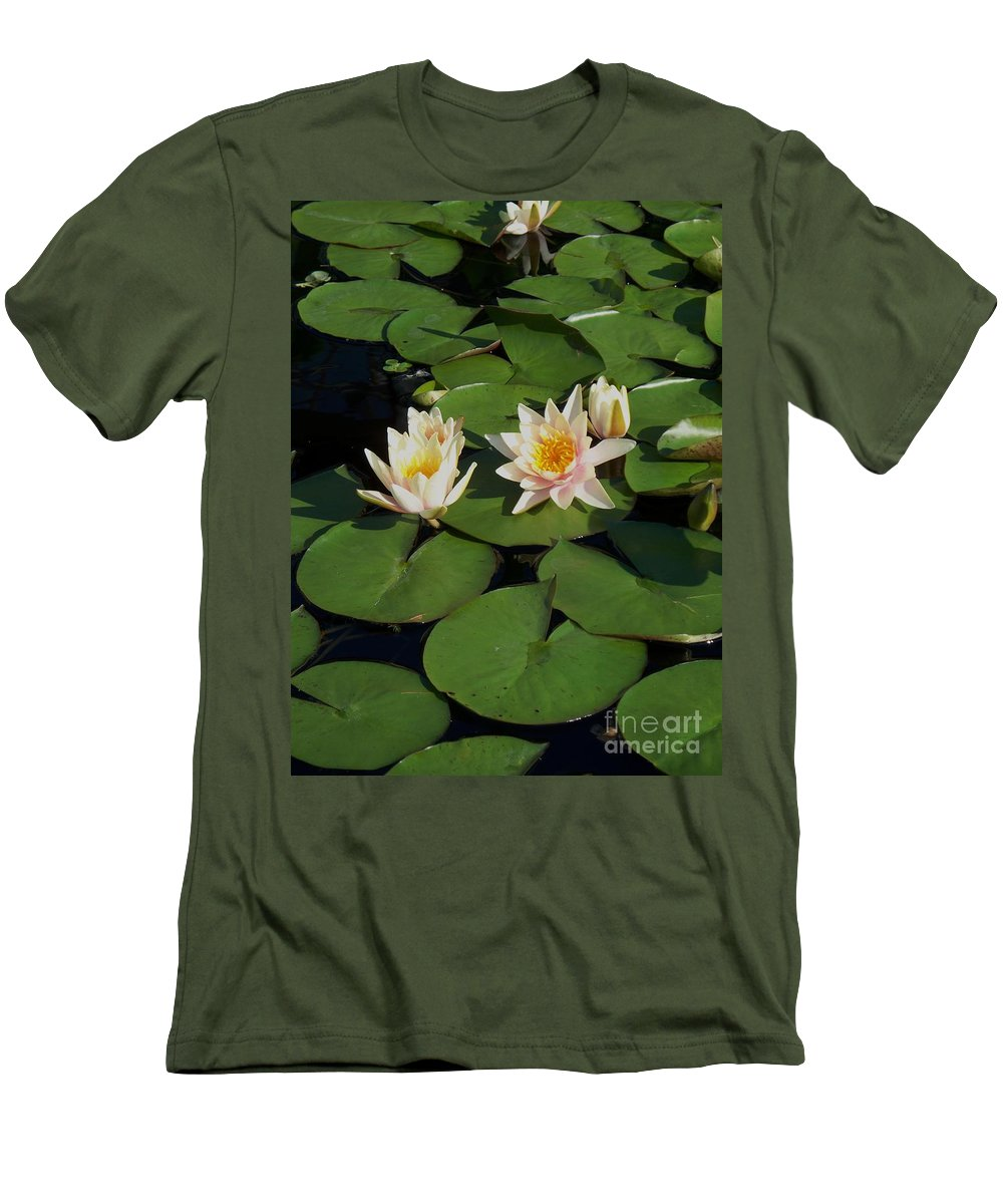 Water Lilies Men's T-Shirt (Athletic Fit) featuring the photograph Yellow And Pink Lily by Eric Schiabor
