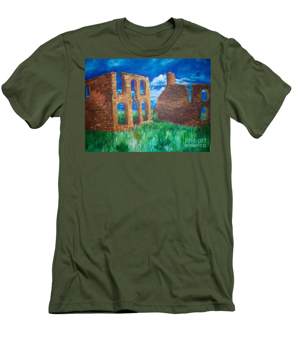 Western_landscapes Men's T-Shirt (Athletic Fit) featuring the painting Ghost Town by Eric Schiabor