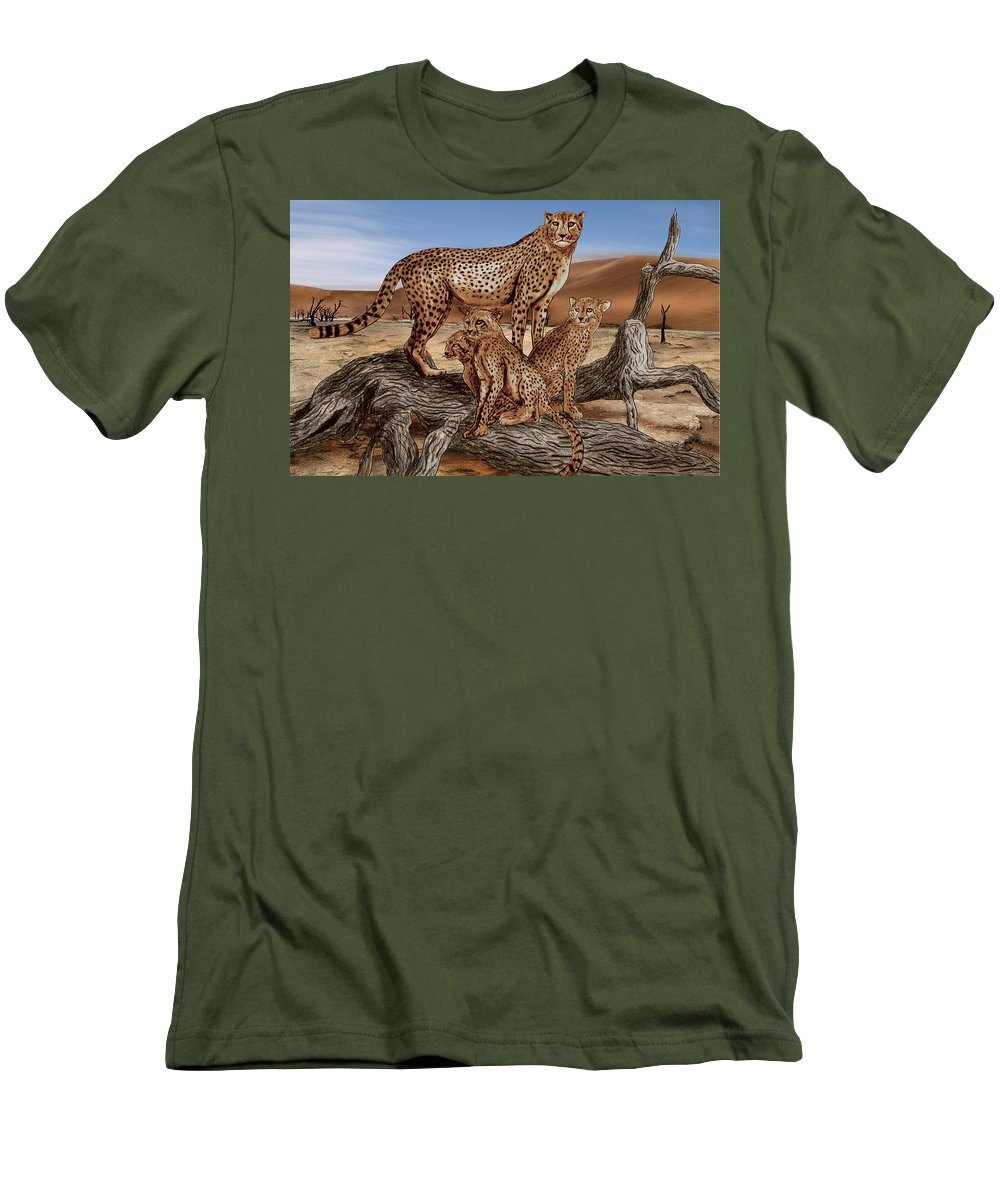 Cheetah Family Tree Men's T-Shirt (Athletic Fit) featuring the drawing Cheetah Family Tree by Peter Piatt