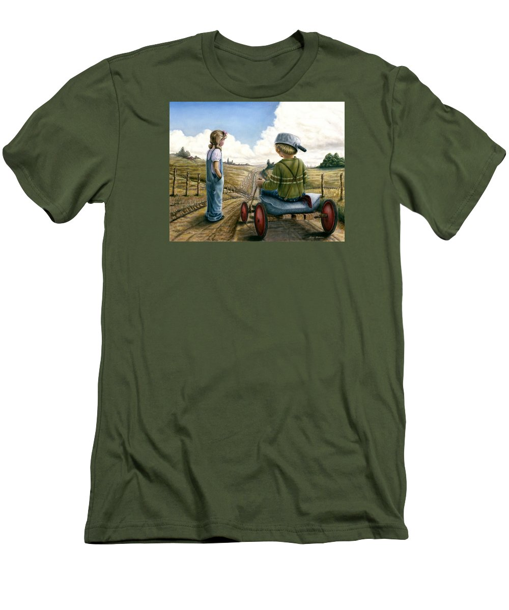 Children Playing Men's T-Shirt (Athletic Fit) featuring the painting Down Hill Racer by Lance Anderson