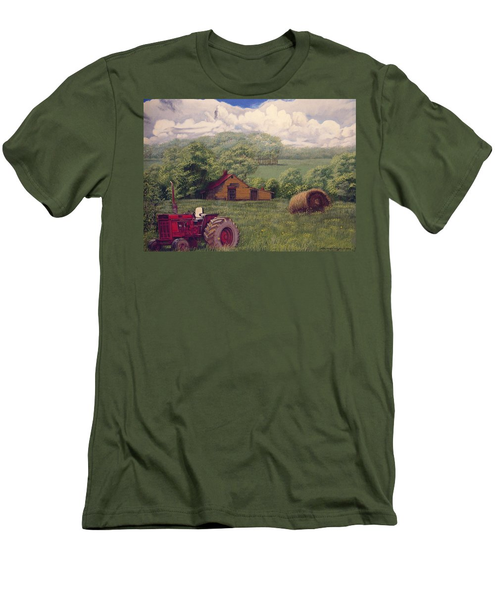 Landscape Men's T-Shirt (Athletic Fit) featuring the painting Idle In Godfrey Georgia by Peter Muzyka