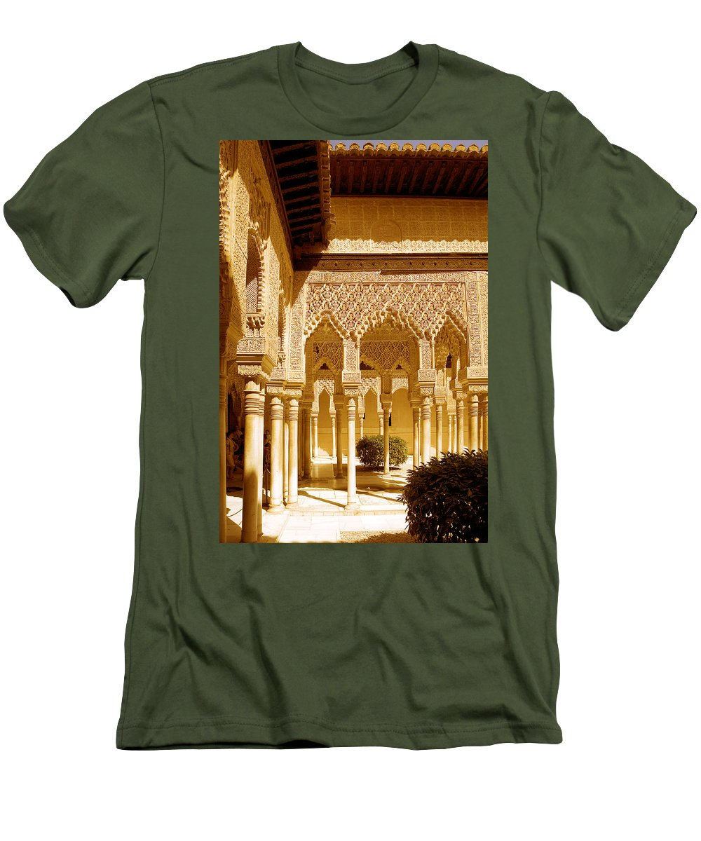 Moorish Men's T-Shirt (Athletic Fit) featuring the photograph Moorish Architecture In The Nasrid Palaces At The Alhambra Granada by Mal Bray