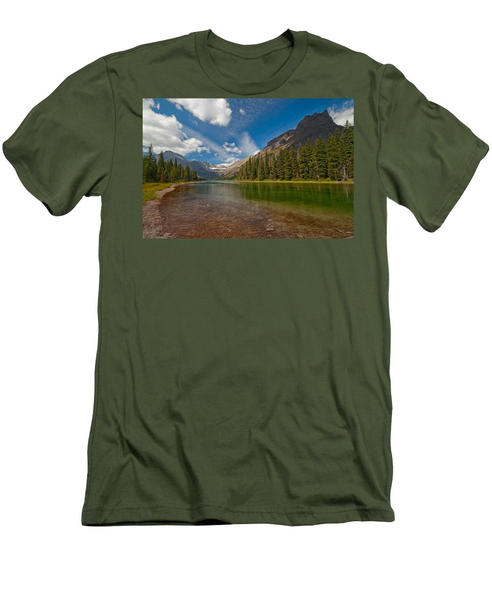 Nature Men's T-Shirt (Athletic Fit) featuring the photograph Moutain Lake by Sebastian Musial