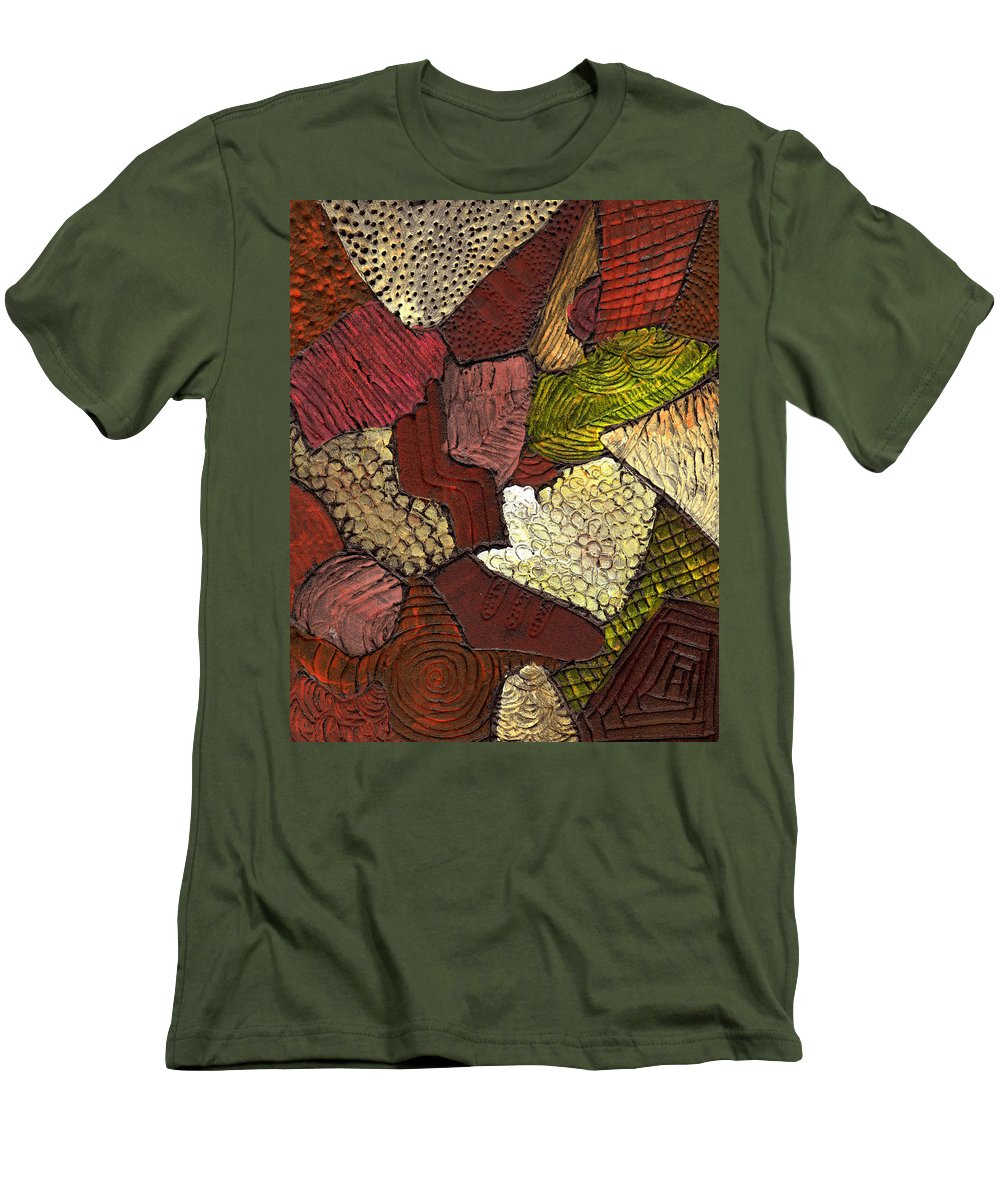 Patchwork Men's T-Shirt (Athletic Fit) featuring the painting Patchwork by Wayne Potrafka