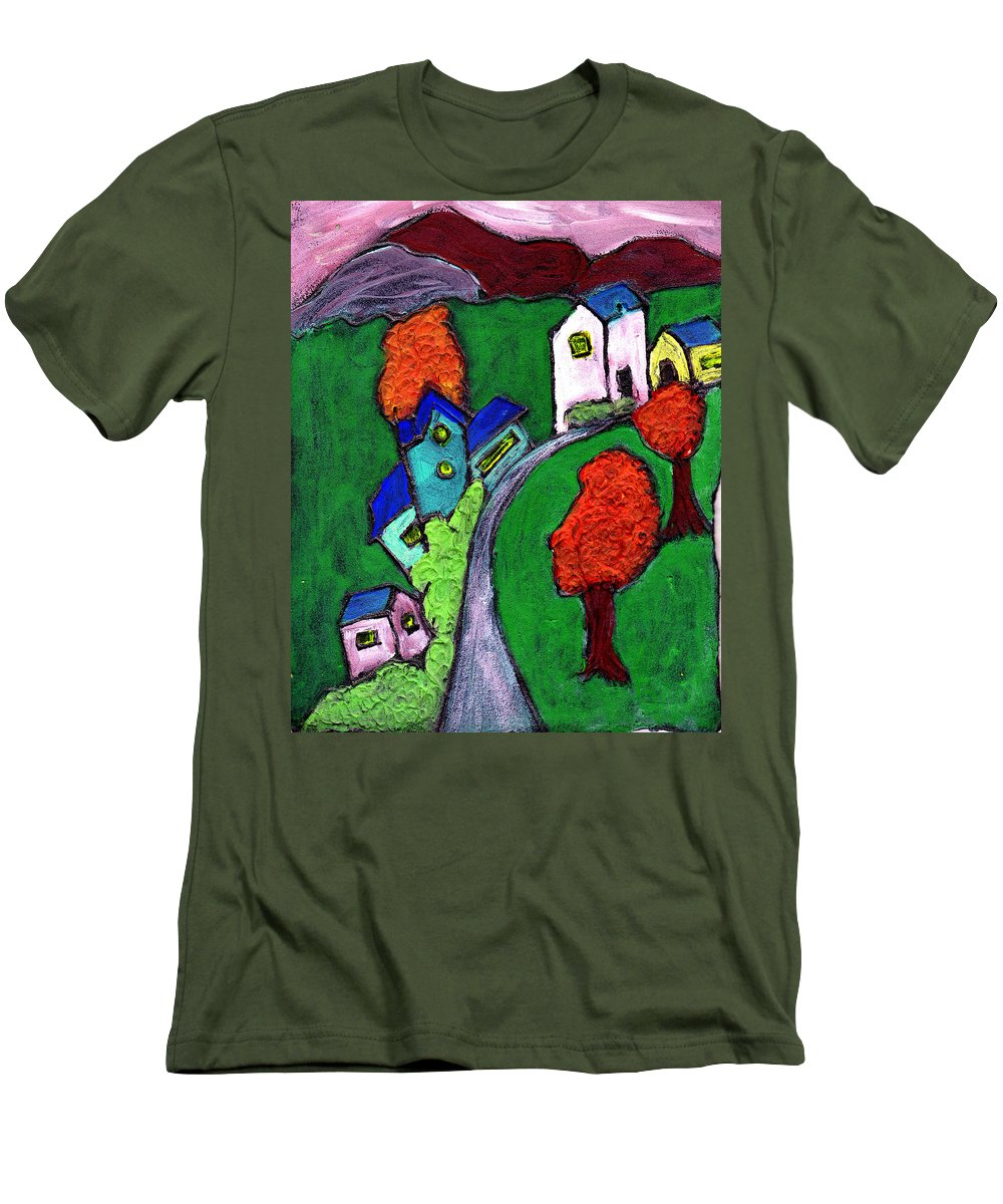 Whimsical Men's T-Shirt (Athletic Fit) featuring the painting There Was A Crooked House by Wayne Potrafka