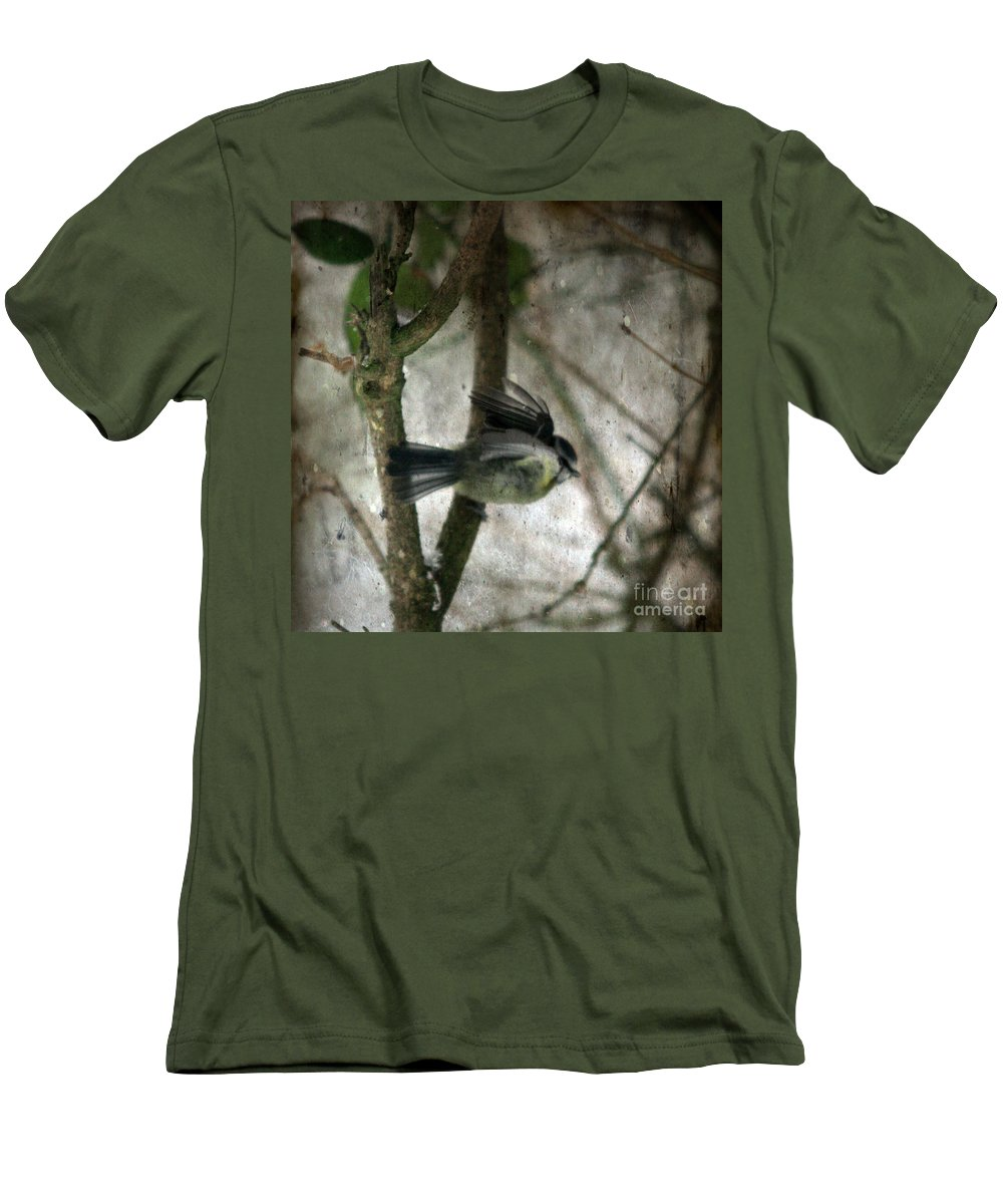 Blue Tit Men's T-Shirt (Athletic Fit) featuring the photograph Waiting For Spring by Angel Ciesniarska