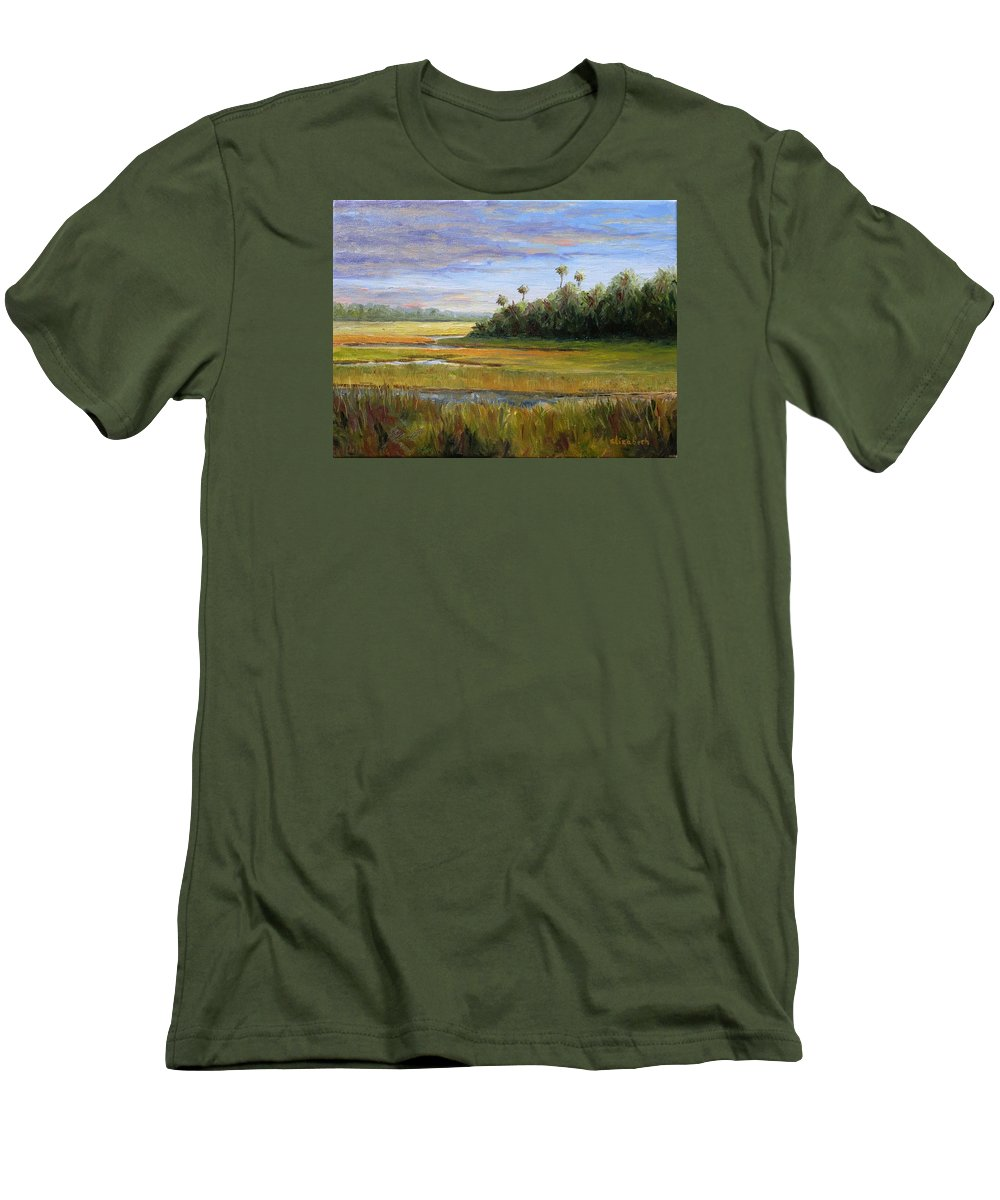 Marsh Men's T-Shirt (Athletic Fit) featuring the painting Yellow Marsh by Beth Maddox