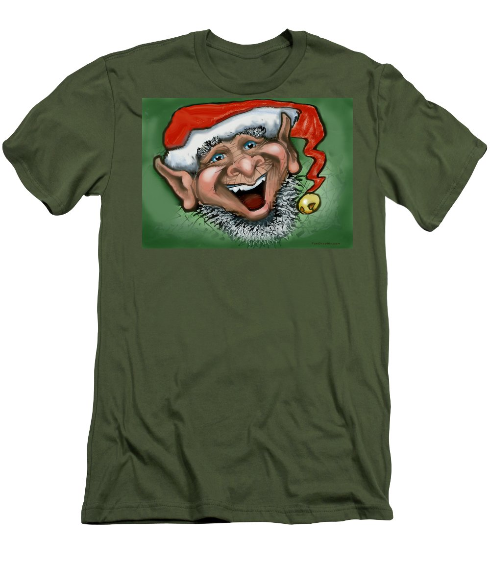 Christmas Men's T-Shirt (Athletic Fit) featuring the greeting card Christmas Elf by Kevin Middleton
