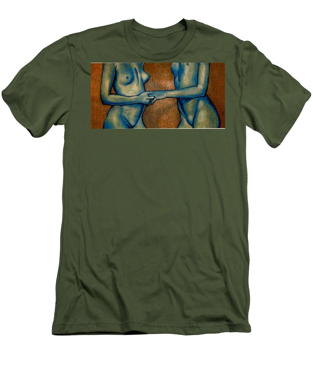 Nudes Men's T-Shirt (Athletic Fit) featuring the painting Friends by Thomas Valentine
