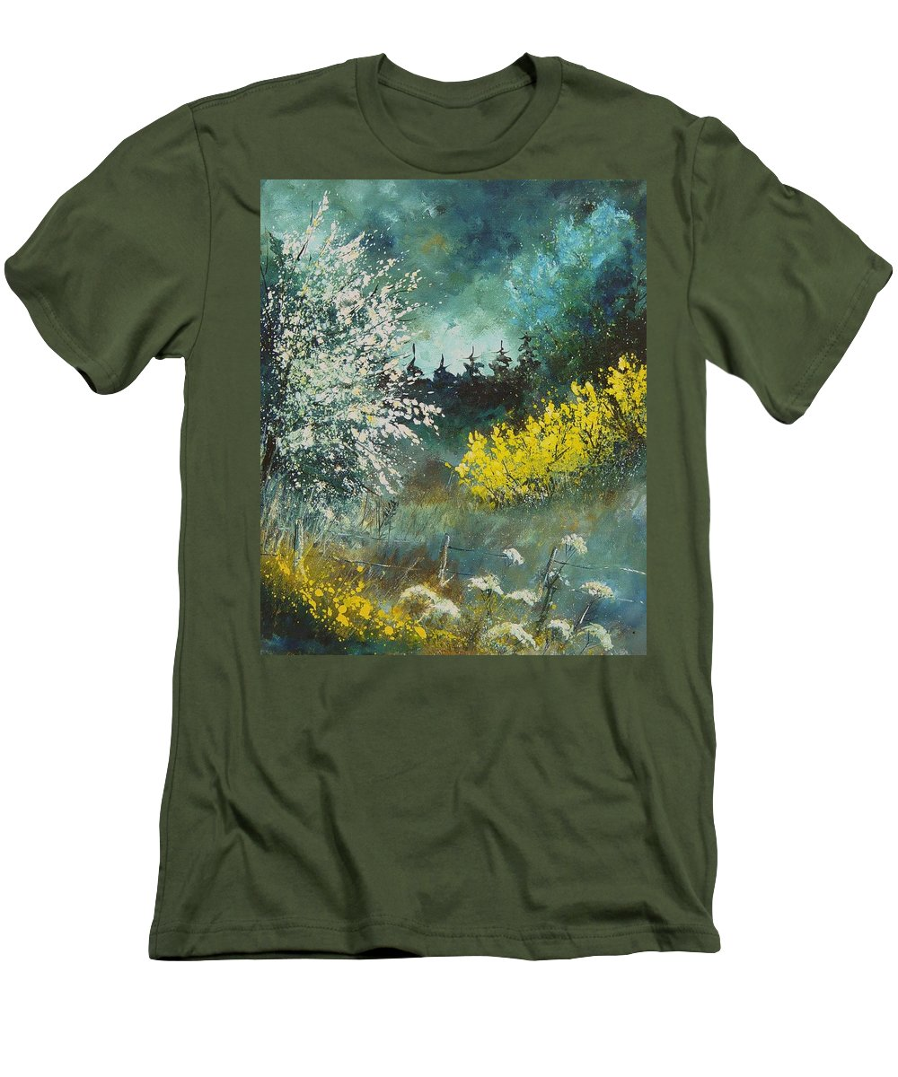 Spring Men's T-Shirt (Athletic Fit) featuring the painting Spring by Pol Ledent