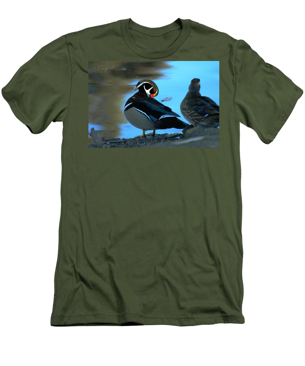 Clay Men's T-Shirt (Athletic Fit) featuring the photograph Wood Duck by Clayton Bruster