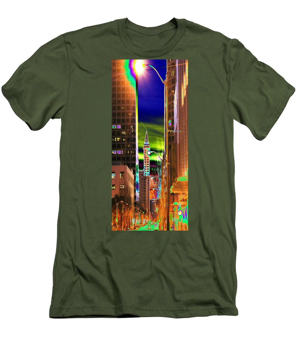 Seattle Men's T-Shirt (Athletic Fit) featuring the photograph 2nd Avenue Sunrise by Tim Allen