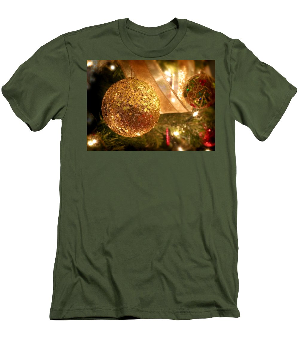 Christmas Card Xmas Tree Pine Spruce Decorations Ribbon Baubles Fairy Lights Needles Victorian Men's T-Shirt (Athletic Fit) featuring the photograph Christmas Tree Decorations by Mal Bray