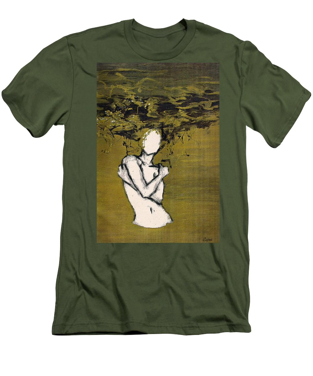 Gold Woman Hair Bath Nude Men's T-Shirt (Athletic Fit) featuring the mixed media Untitled by Veronica Jackson