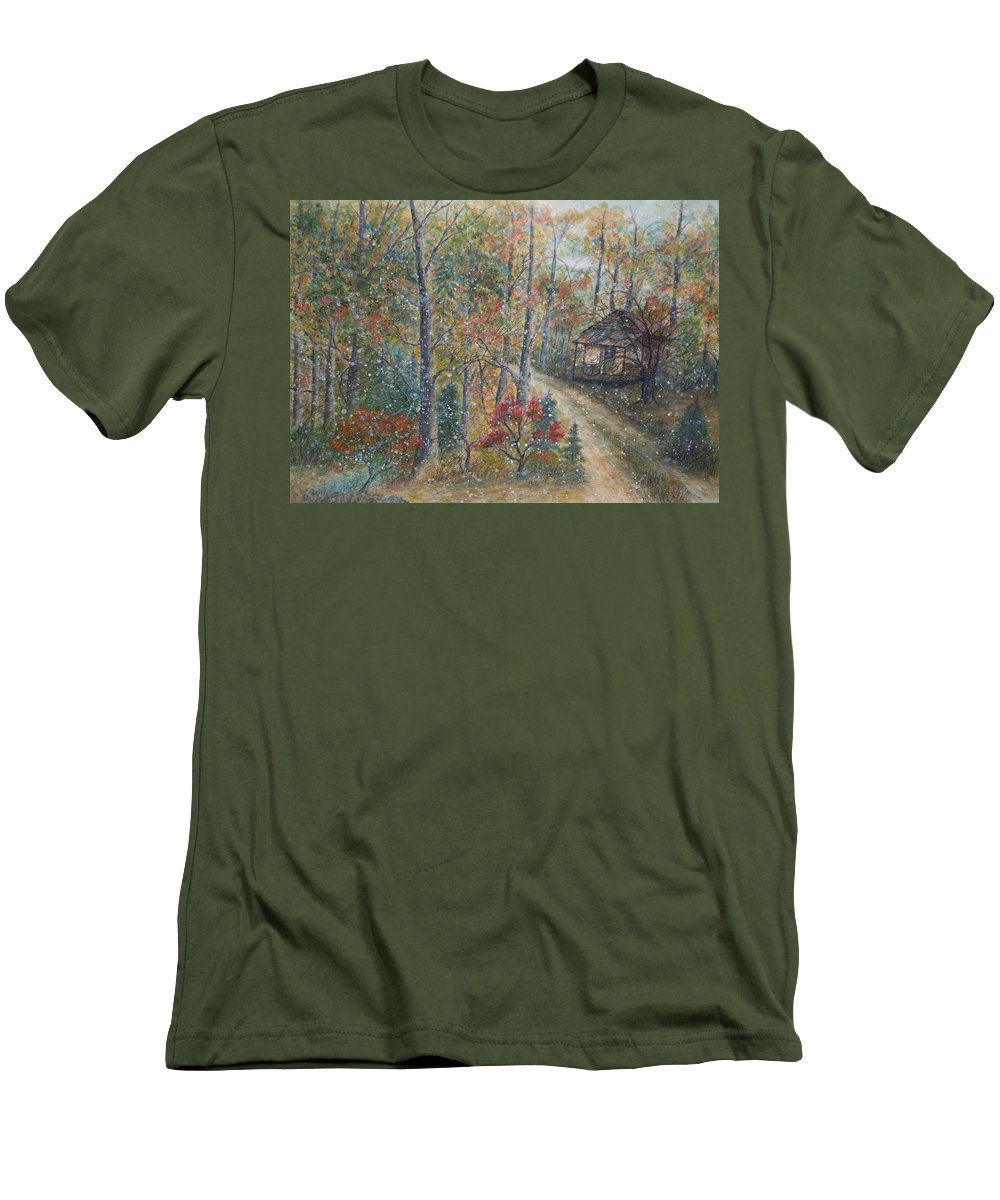 Country Road; Old House; Trees Men's T-Shirt (Athletic Fit) featuring the painting A Bend In The Road by Ben Kiger