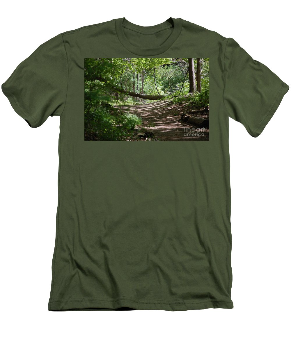 Landscape Men's T-Shirt (Athletic Fit) featuring the photograph A Path In The Woods by David Lane