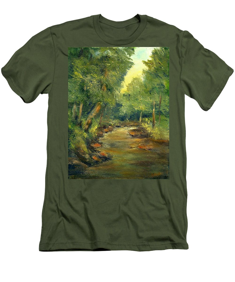 Creek Men's T-Shirt (Athletic Fit) featuring the painting A Quiet Place by Gail Kirtz