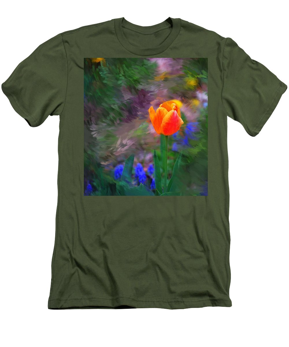 Floral Men's T-Shirt (Athletic Fit) featuring the digital art A Tulip Stands Alone by David Lane