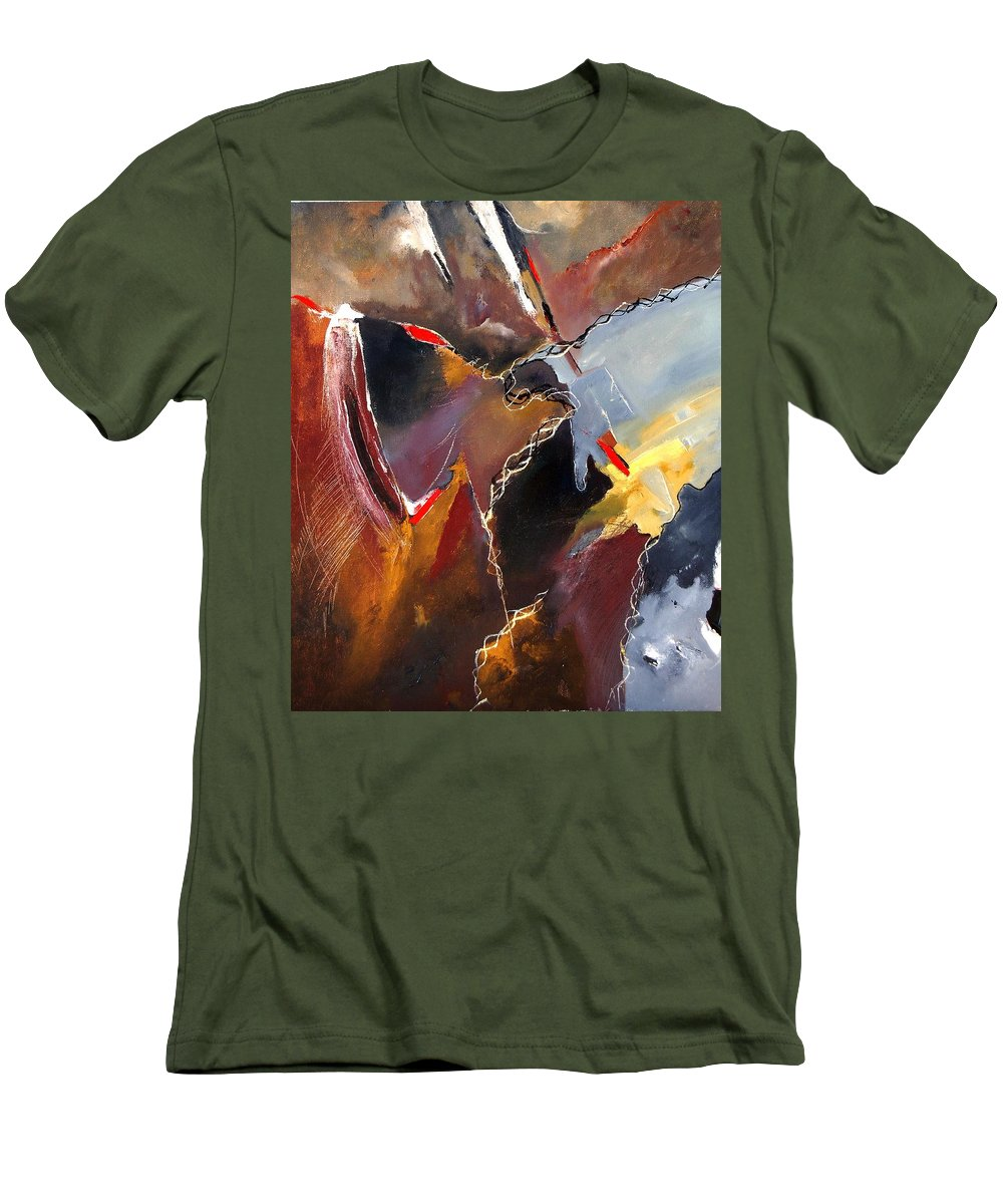 Abstract Men's T-Shirt (Athletic Fit) featuring the painting Abstract 020606 by Pol Ledent