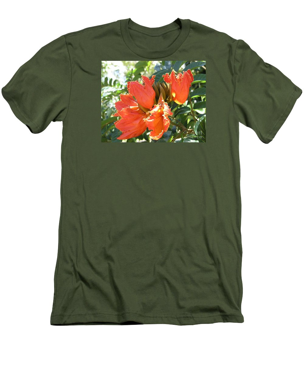African Tulip Men's T-Shirt (Athletic Fit) featuring the photograph African Tulips by Mary Deal